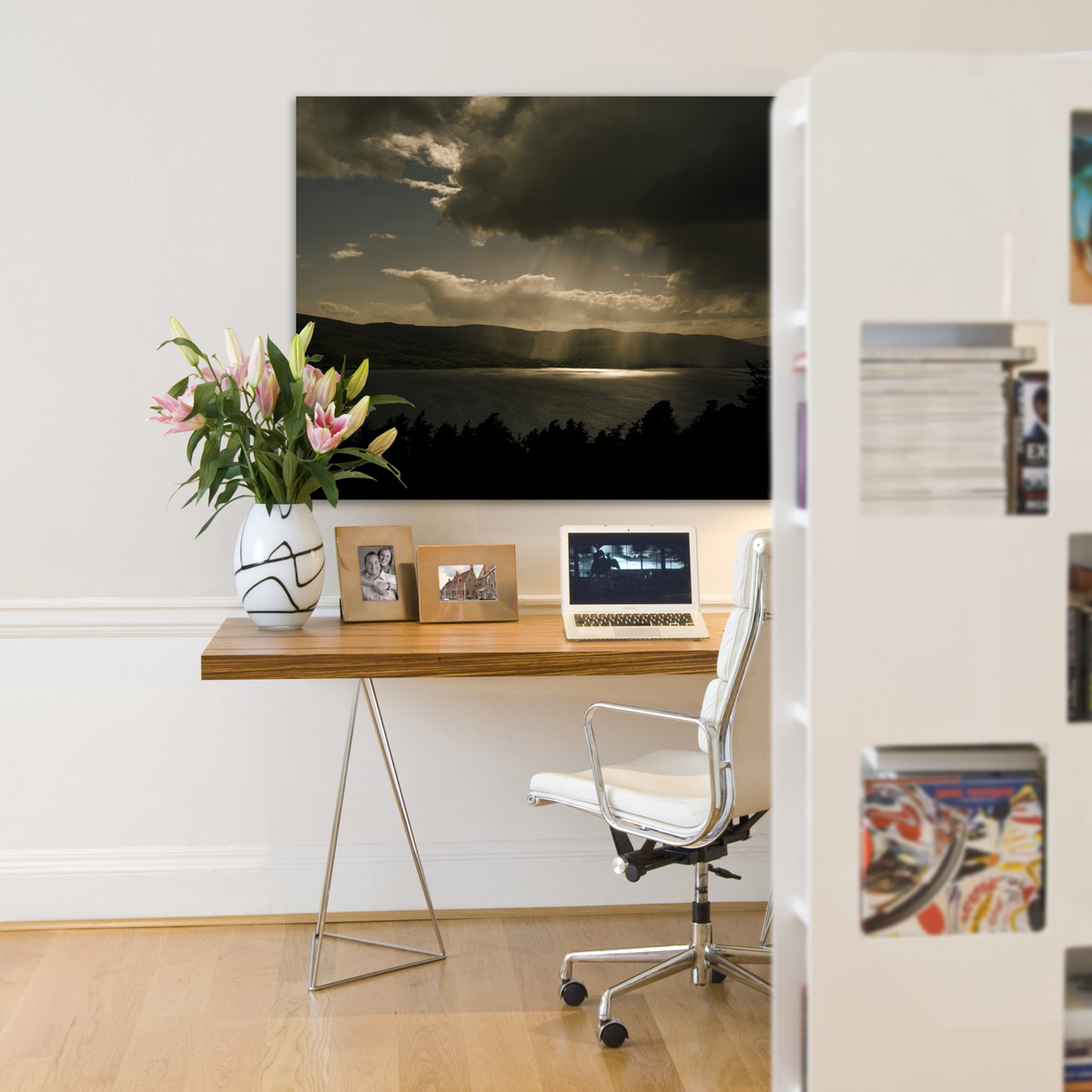 Landscape photograph in office environment showing Carlingford Lough.