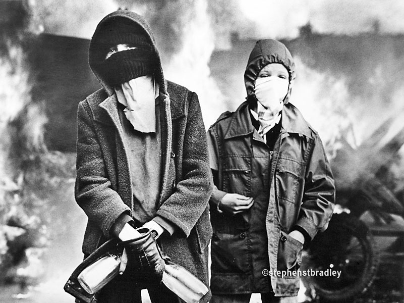 Hooded rioters, Divis Flats, Belfast, by Stephen S T Bradley, editorial, commercial, PR and advertising photographer, Dublin, Ireland