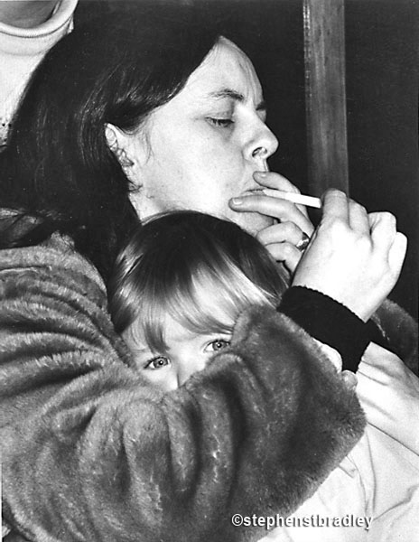 Bernadette Devlin McAliskey with her son at press conference by Stephen S T Bradley, editorial, commercial, PR and advertising photographer, Dublin, Ireland