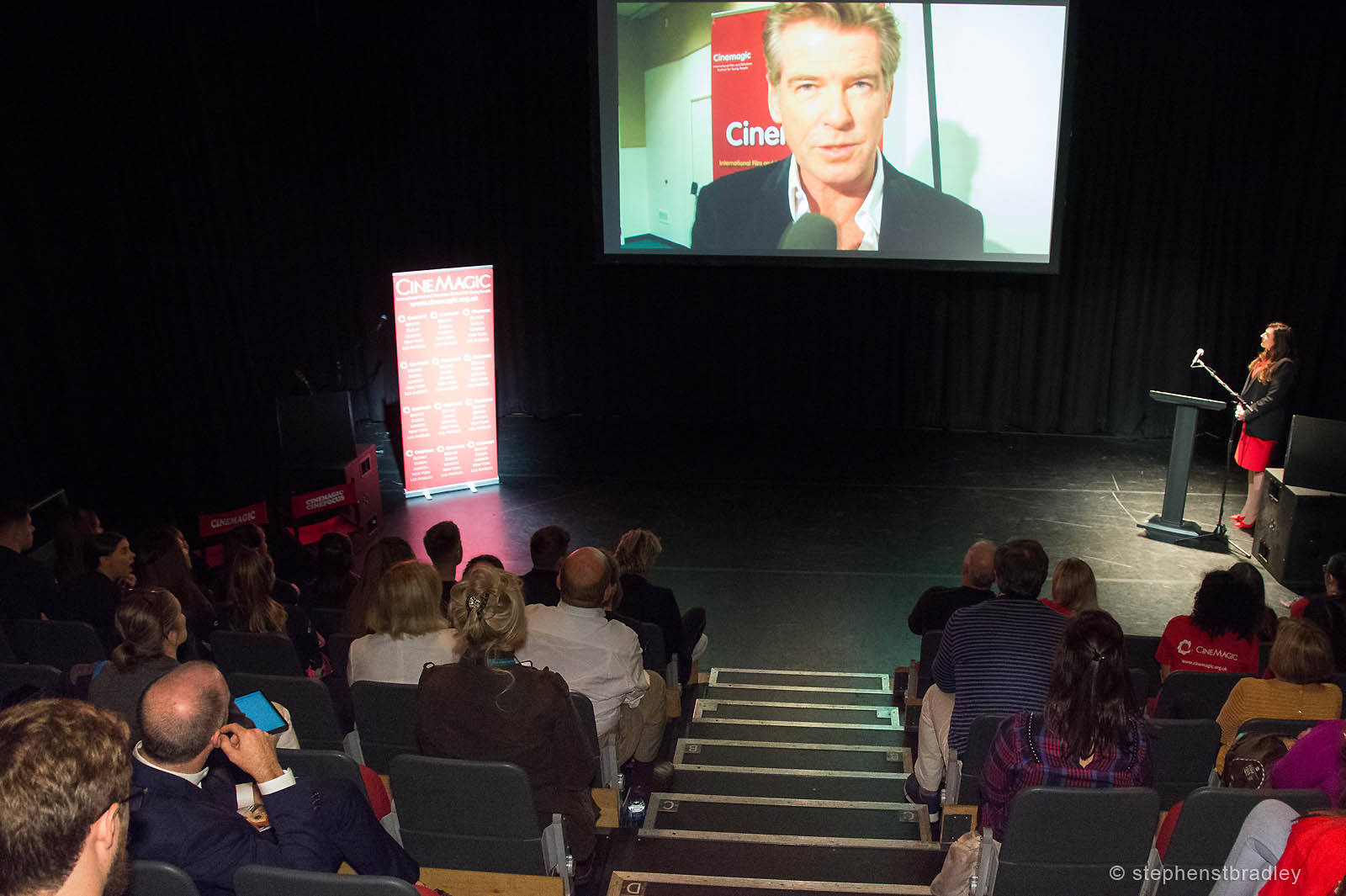 PR photography showing Pierce Brosnan video presentation and audience, photo 8247 - PR Photographer Dublin Ireland photo 8247 - PR photo by Stephen S T Bradley, commercial, advertising, social media, editorial, annual report, PR photographer Dublin, Ireland